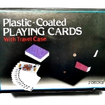 Plastic coated playing cards with travel case
